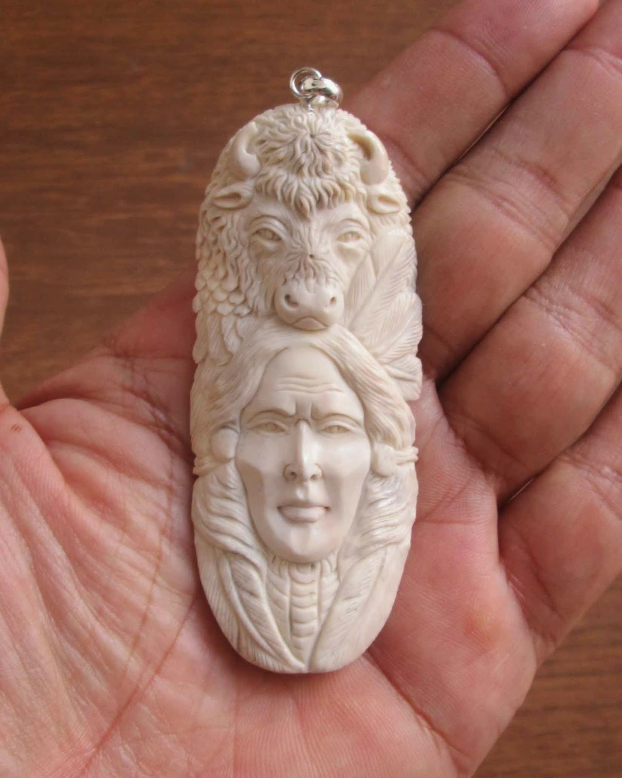 Hand Carved Bull Indian Animal Bone Pendants