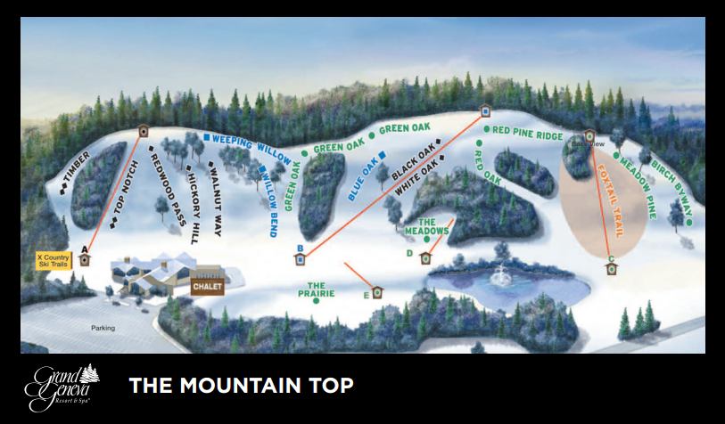 Grand Geneva Resort's Mountain Top Ski Area Map