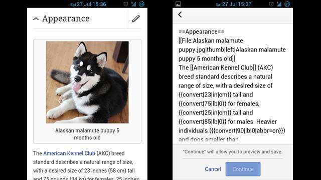 Wikipedia to let users edit Wiki entries through your smart phone or tablet through a pencil icon at the top