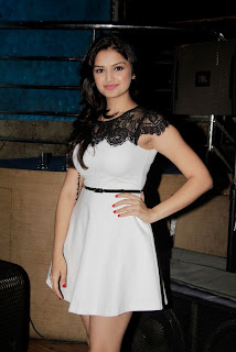 Tara Alisha in lovely White Micro Mini Dress at Movie Mastram first Look Launch