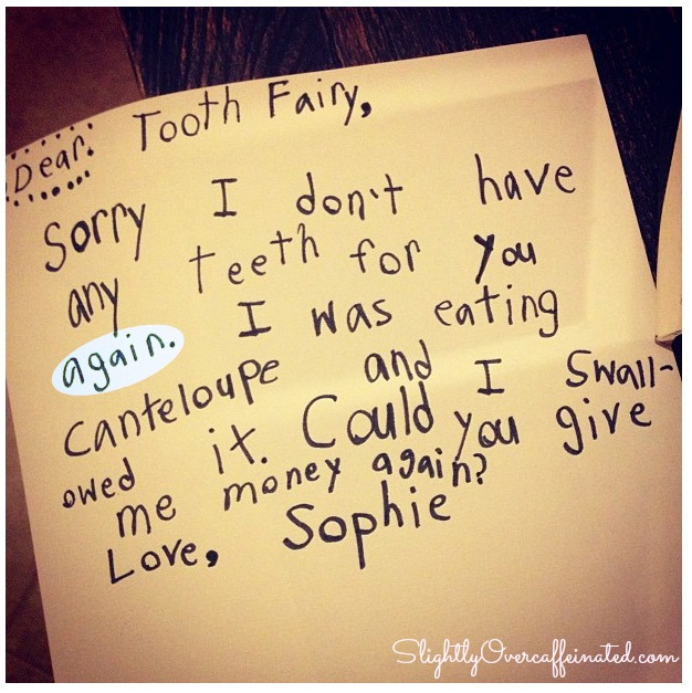 tooth fairy note re: swallowed tooth