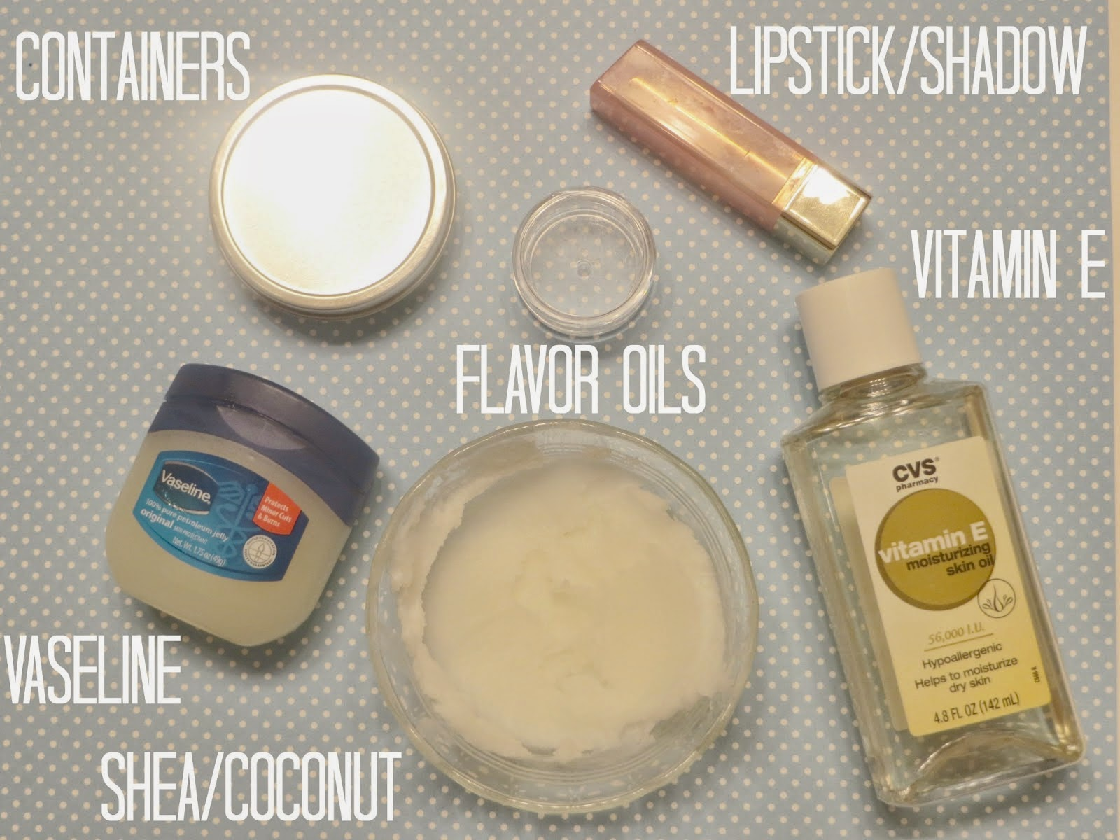 Ingredients for DIY Vaseline tinted balm