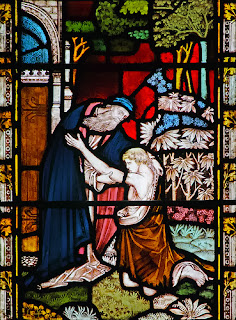 stained glass, window, prodigal son, father, forgiveness, parable
