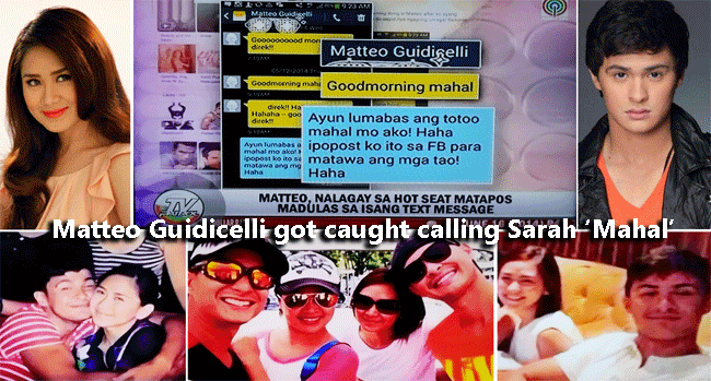 Matteo Guidicelli got caught calling Sarah Geronimo 'Mahal'