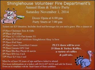 11-1 Shinglehouse VFD Ham & Turkey Party
