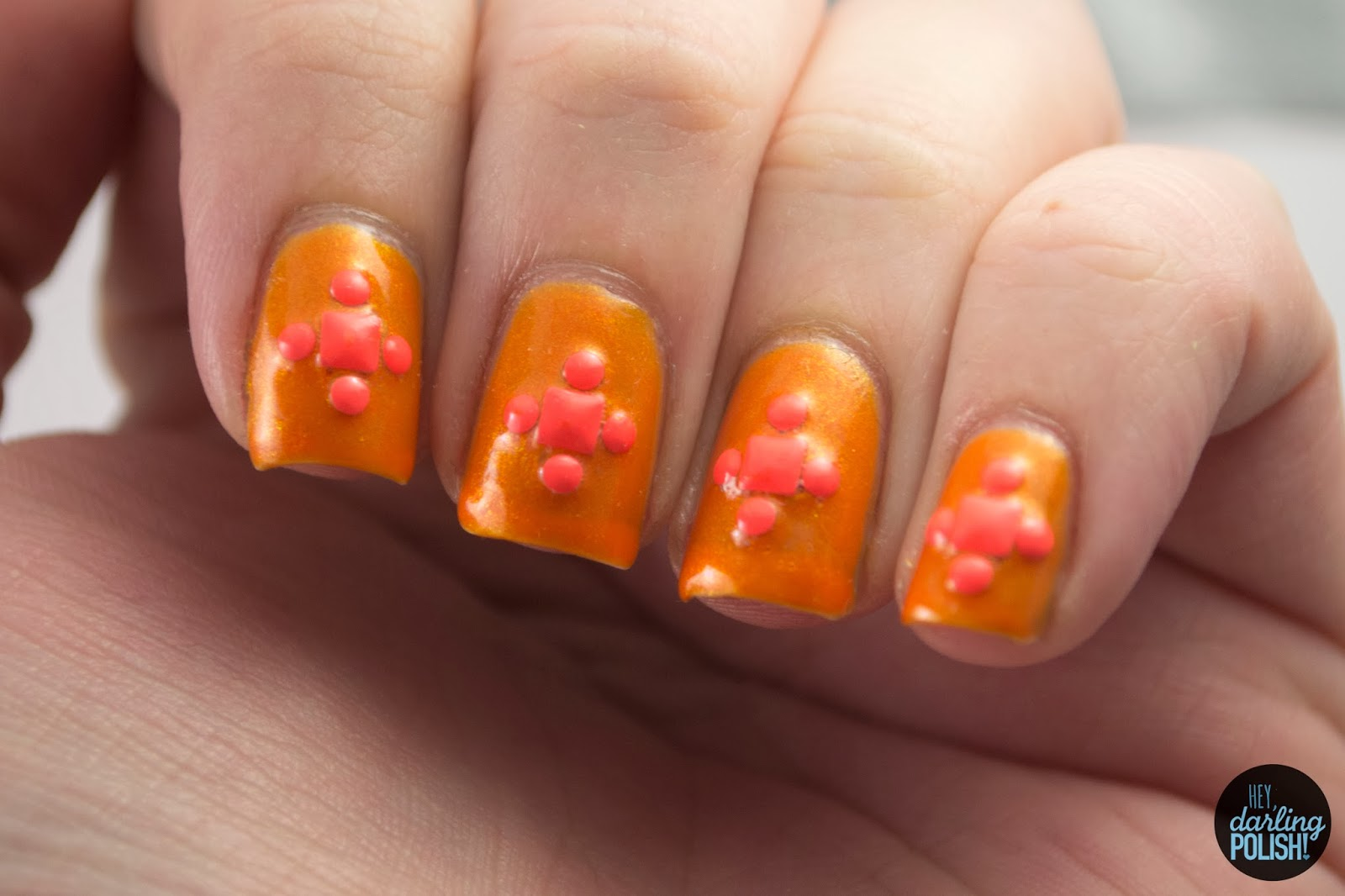 nails, nail art, nail polish, orange, studs, golden oldie thursdays, hey darling polish