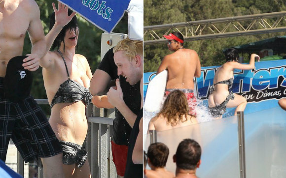 so much more today: katy perry's butt showing in a water park