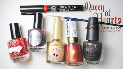 Nail polishes and tools used