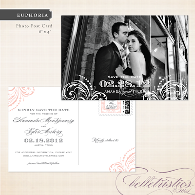 glamorous flourish printable wedding save the date post card design