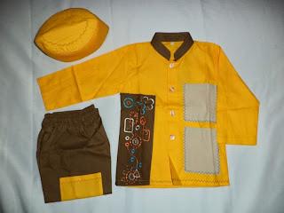 Baju muslim anak laki-laki warna kuning-coklat terbaru