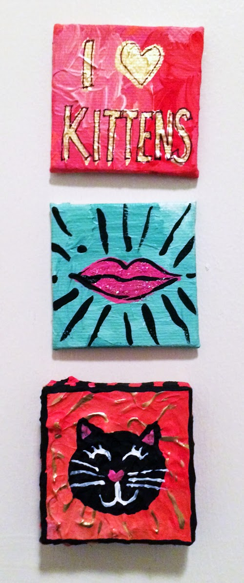 Free-Art-Friday, FAFATL, Miniature-paintings, I-Love-Kittens, I-Heart-Kittens, Lips, magnets