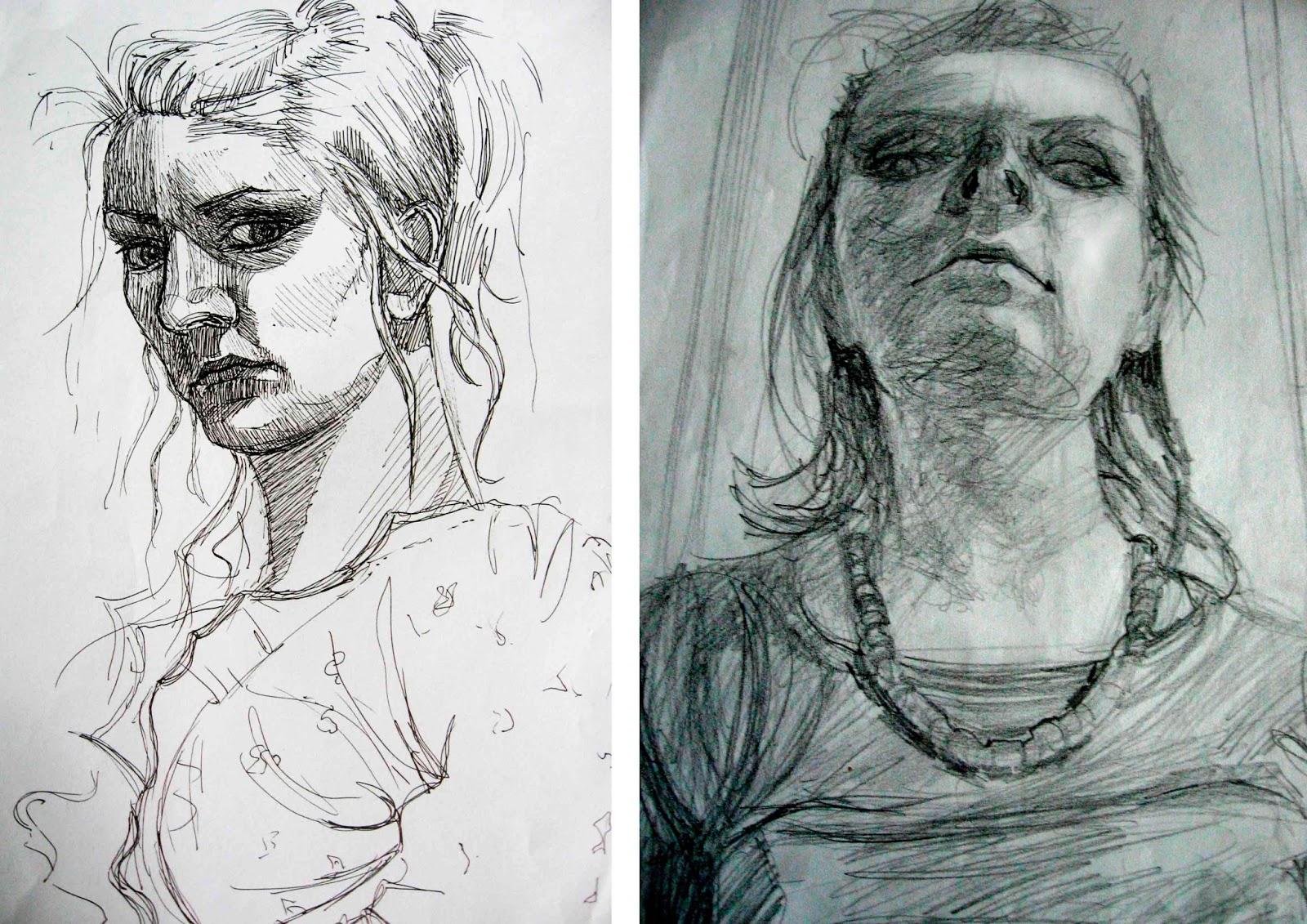 portret autoportret Katarzyna Urbaniak rysunek ilustracja