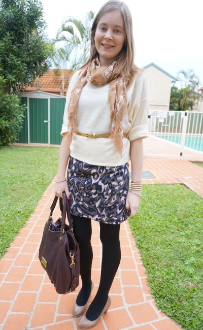 Away From the Blue belted jumper layered over printed dress with skull scarf and heels
