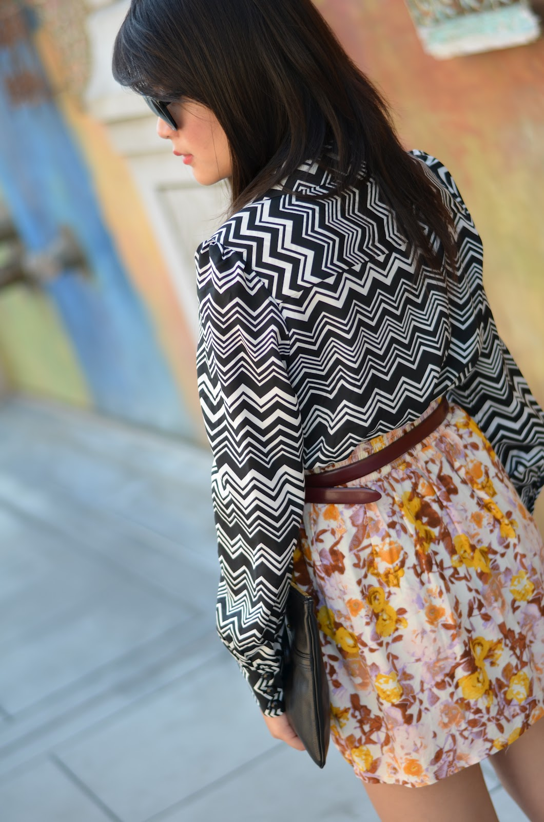 target, missoni target, target missoni, black white chevron blouse, missoni black white chevron blouse, h&m floral skirt, marc jacobs, marc jacobs black clutch