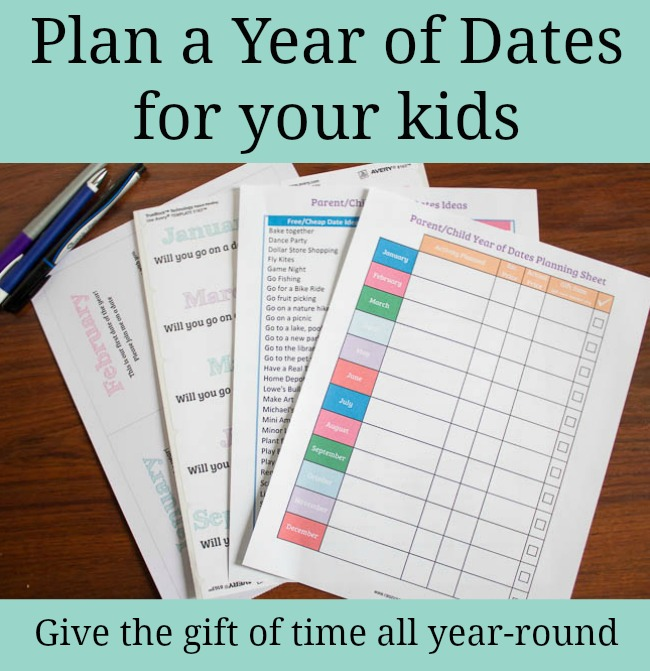 Plan a year of dates for your kids. Free printables. Makes a great Christmas Present