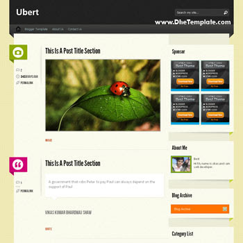 Ubert blogger template. tumblr template for blogger template