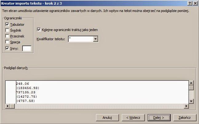 Import pliku tekstowego a niepotrzebne spacje - import tekstu krok 2