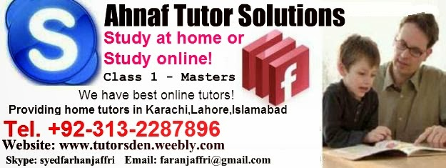 AHNAF Home Tutor Academy and Tuition Provider in Karachi,Lahore 0313-2287896 MBA,Accounting,Math,