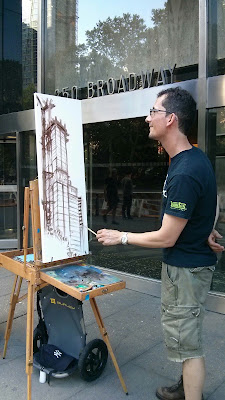 Cityscape Plein-Air Painting, Manhattan, Bernard Garcia, Oil on Canvas, New construction Building