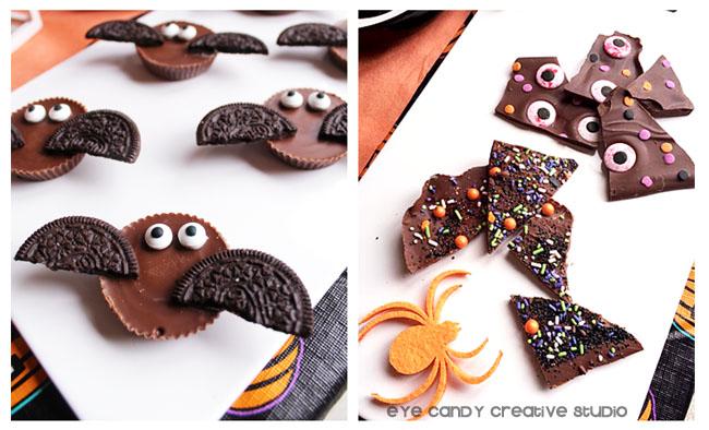 resse's bats, eyeballs, halloween bark, Oreo cookies, spider, sprinkles