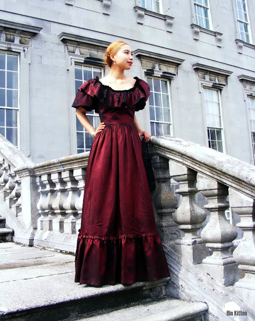 vintage red taffeta Victorian dress, Castletown House, interview with the Vampire