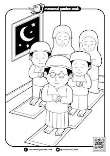 mewarnai gambar sholat tarawih di masjid