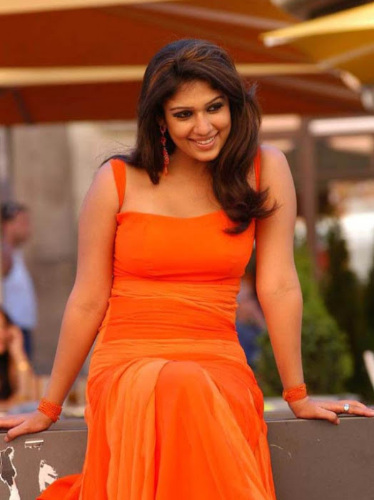 nayanthara in orange dress glamour  images
