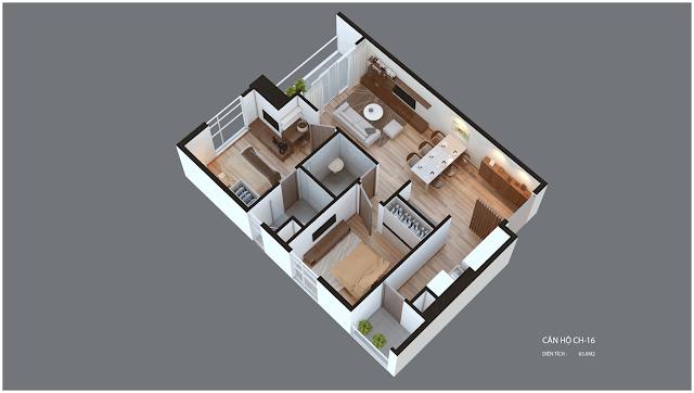 Mặt bằng căn hộ Imperia Garden CH16 65 m2