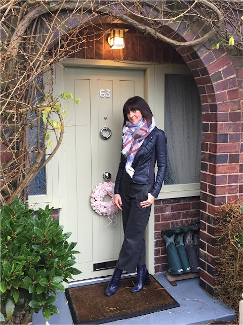 My Midlife Fashion, Zara wool culottes, marks and spencer quilted faux leather biker jacket, zara check and stripe scarf, zara block heeled ankle boots
