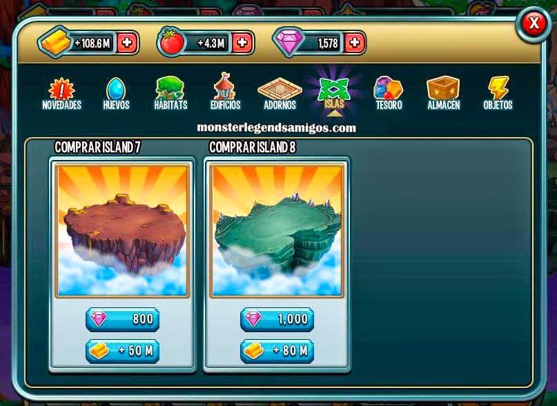 imagen de las nuevas islas de monster legends