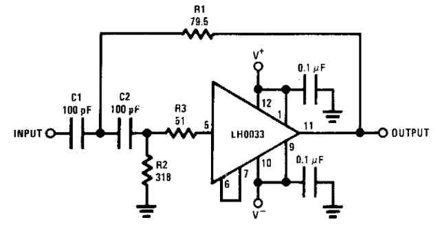 Simple Wide band 2 pole high-pass filter