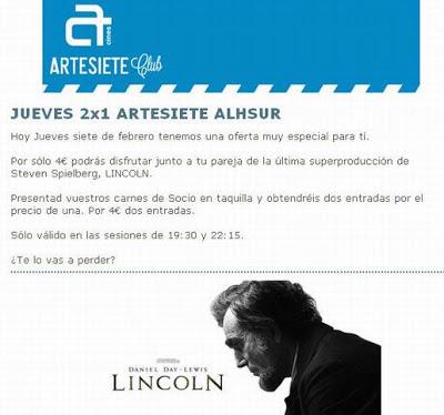 Cines Artesiete. Ofertas por mail
