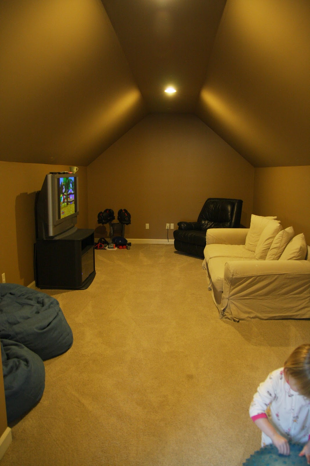 Kids Playroom With Tv the attic, kids tv room, and some playroom holiday spirit - simply