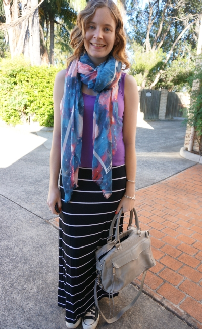 Marc By Marc Jacobs turquoise stargazer scarf purple tank stripe maxi skirt converse RM MAM