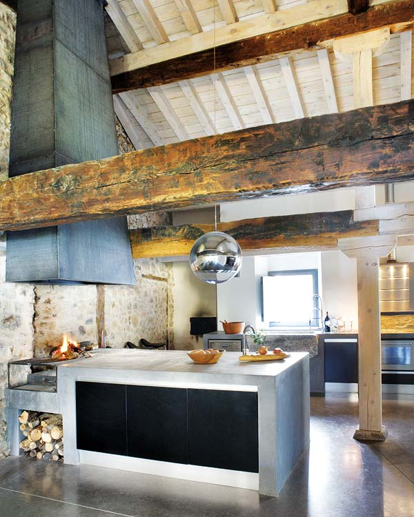 after finding this charming kitchen full of modern touches i wonder why the exposed chimney is the perfect visual cue to draw your eye up and show off the - Rustic Modern Kitchen 2