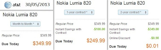 Nokia Lumia 820 - AT&T USA - Contracts