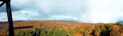 View from Spruce Mountain's fire tower, Sunday 10/18/2015.  The Saratoga Skier and Hiker, first-hand accounts of adventures in the Adirondacks and beyond, and Gore Mountain ski blog.