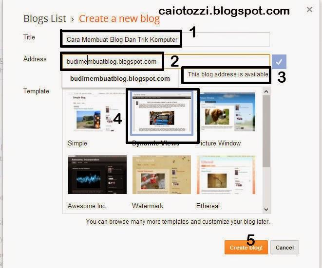 menulis judul blog dan alamat URL blog