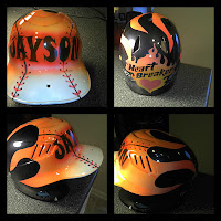 Airbrushed Old School Flames Batting Helmet