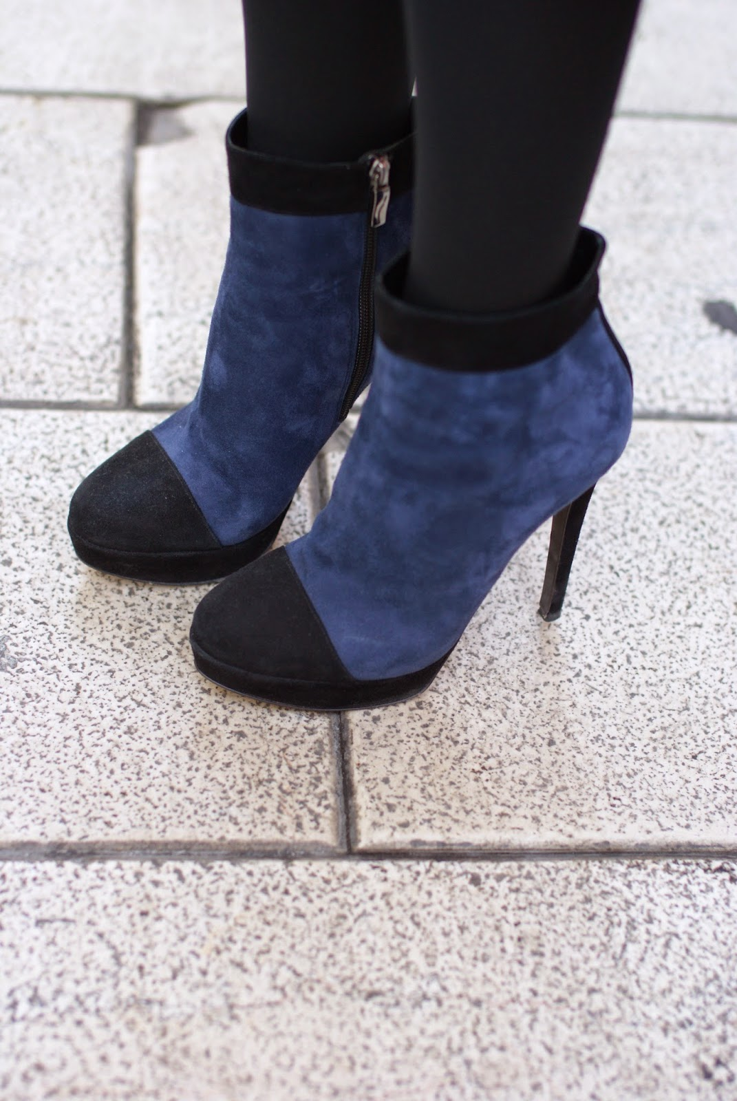 Icone ankle boots, suede bicolor heels, Fashion and Cookies, fashion blogger