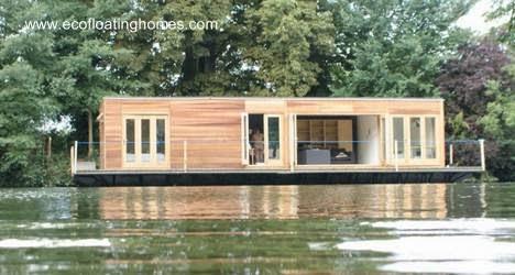 Casa flotante contemporánea ecológica inglesa