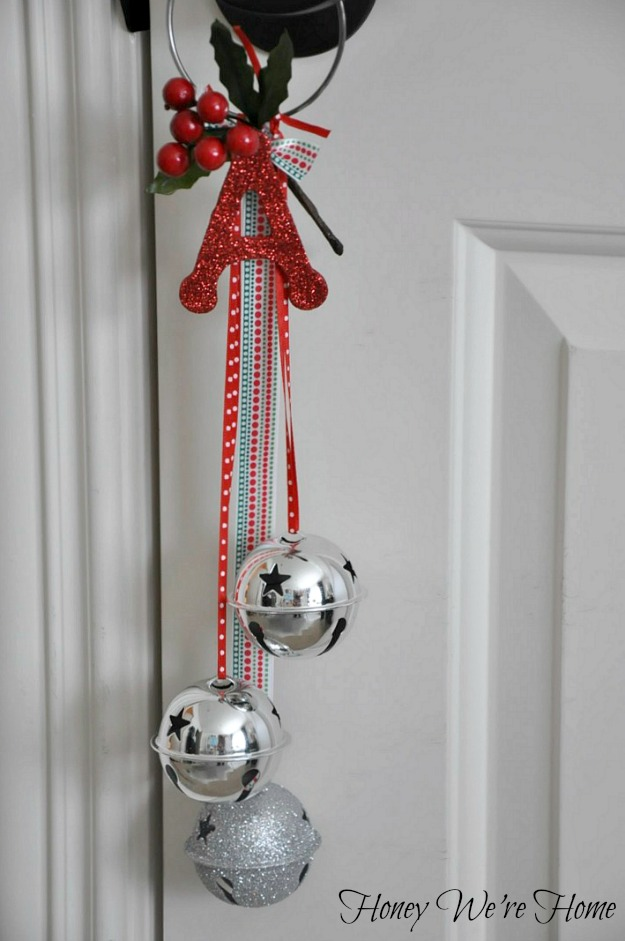 I Made The Second Door Hanger The Same Way, With Silver Bells And Red And  Green Ribbon And Faux Berries On Top. To Personalize It, I Added A Red  Glittery ...