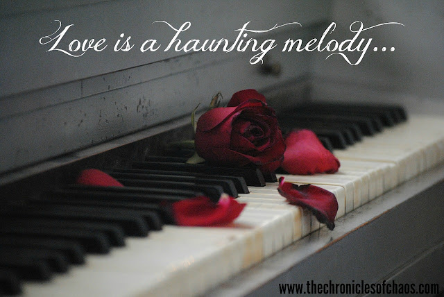 Love is a Haunting Melody quote piano rose