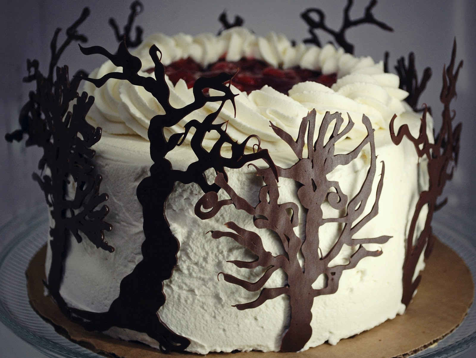 Black Forest Cake Decoration Images : CHOCOLATE TREES FOR A BLACK FOREST CAKE. WIN. - The ...