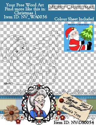 Digital Stamp with Santa holding a Christmas tree