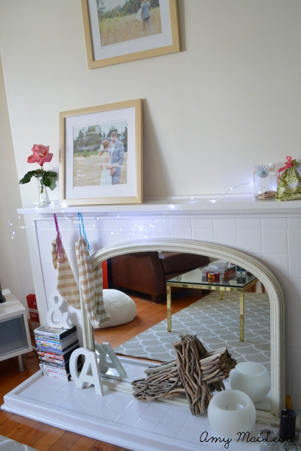 Christmas Mantel - white and bright (and pink) by Amy MacLeod