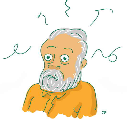 Philip K. Dick caricature cartoon drawing