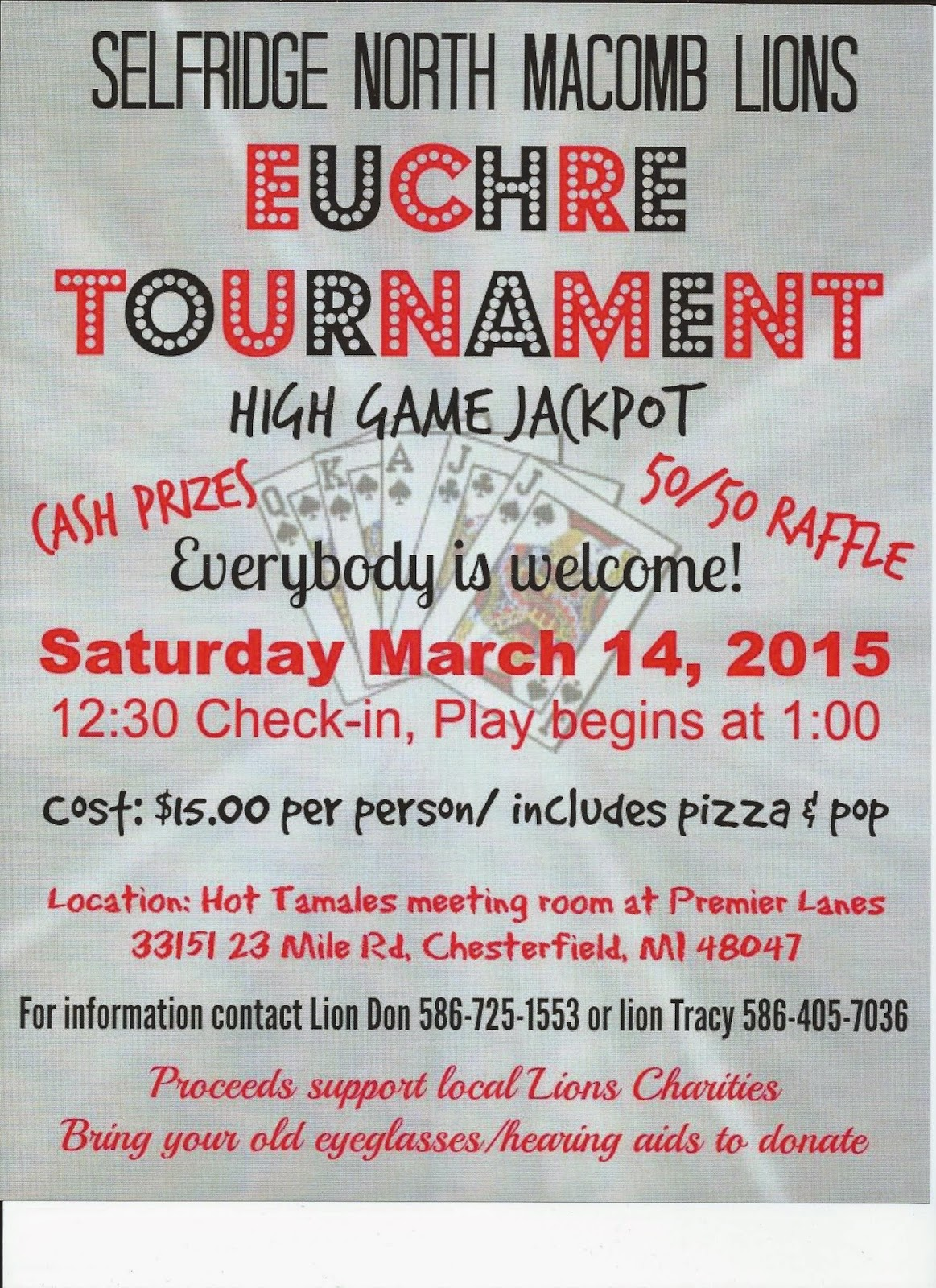 Lions Euchre Tournament Fundraiser