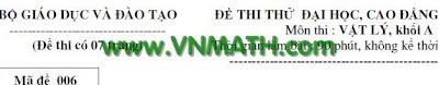 đề thi đại học, 100 de thi thu vat ly, de thi dai hoc 2011