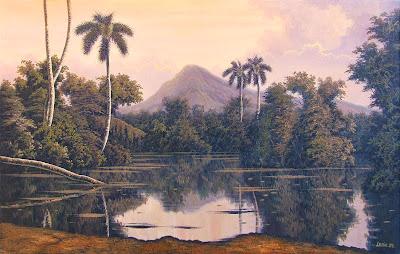 paisaje-con-atardecer-y-palmeras-al-oleo